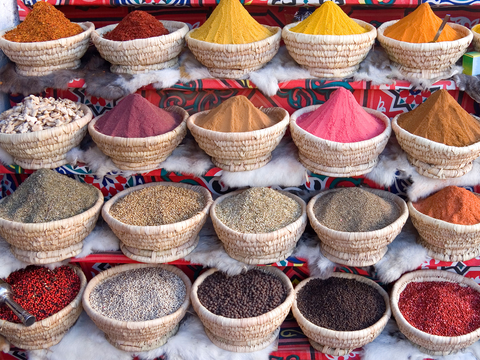 Colourful display of spices, Sharm el Sheik, Egypt.