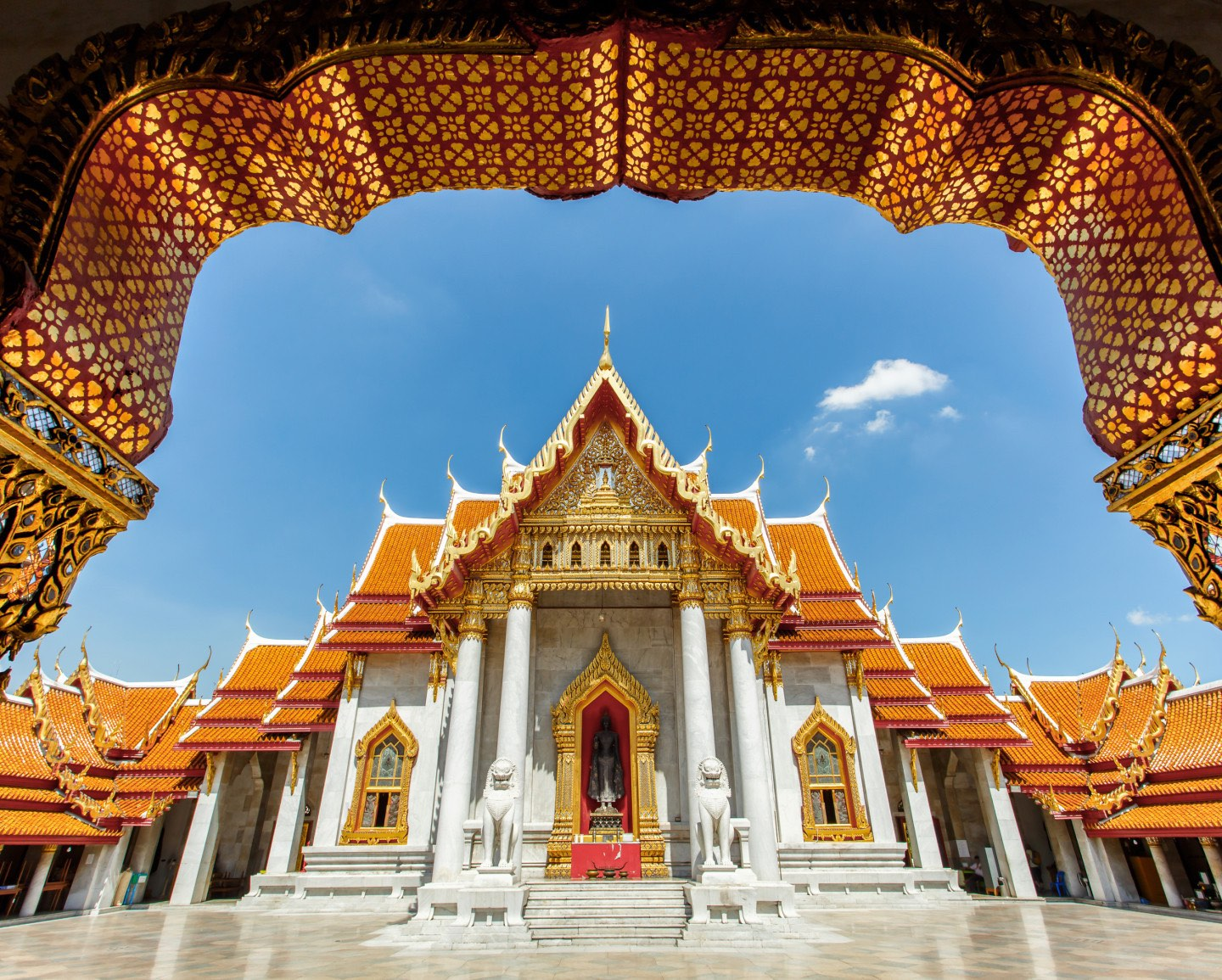 The gateway view of the Grand Palace in Bangkok, Thailand.