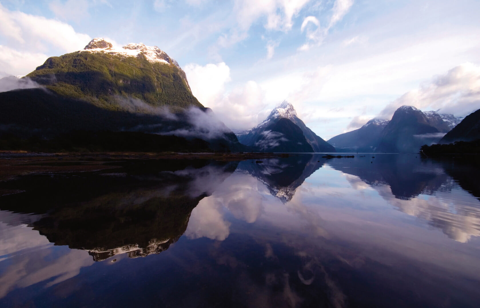 Mountains, Hills, Lake, Reflection, Mitre Peak, Milford Sound, New Zealand