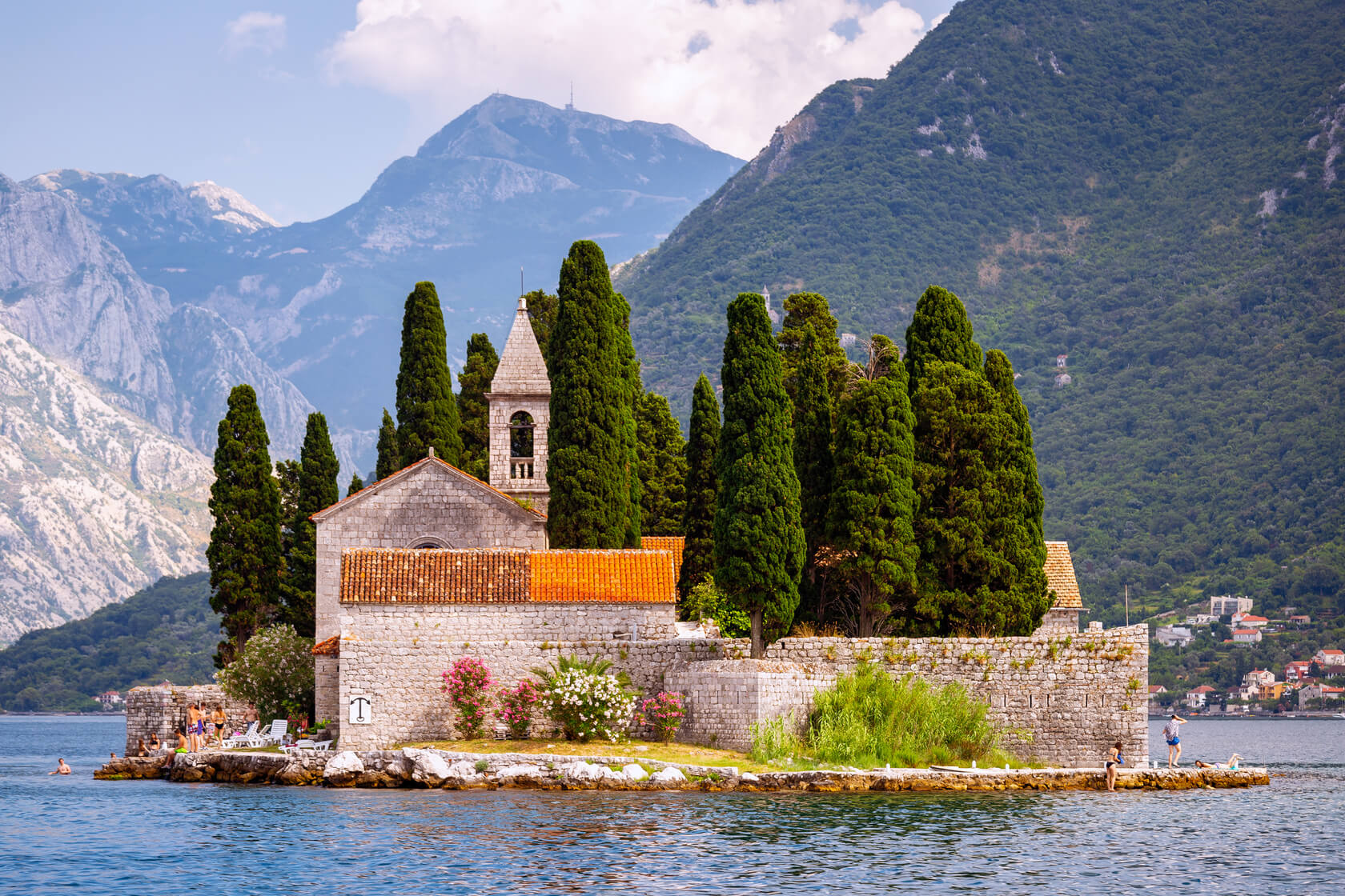 https://www.gettyimages.com/detail/photo/sveti-juraj-monastery-saint-george-island-perast-royalty-free-image/1159470601(Perast, Our lady of the rocks)The beautiful and iconic Sveti Juraj Monastery on Saint George Island in Perast, Montenegro Photograph taken from near the Our Lady of the Rocks during the day.