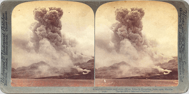 An old photo of a volcanic eruption in the virgin islands